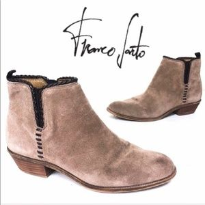 Franco Sarto Brown Ricochet Heeled Ankle Booties